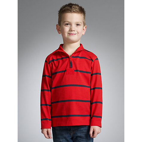 Buy John Lewis Boy Breton Striped Quarter-Zipped Jumper Online at johnlewis.com