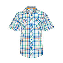 Buy John Lewis Boy Western Checked Short Sleeved Shirt, Blue/Green/Orange Online at johnlewis.com