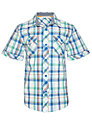 John Lewis Boy Western Checked Short Sleeved Shirt, Blue/Green/Orange