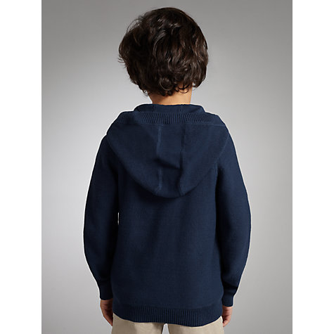 Buy Kin by John Lewis Boys' Hooded Cardigan, Navy Online at johnlewis.com