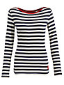 Joules Christen Stripe Long Sleeve Top, Navy Stripe