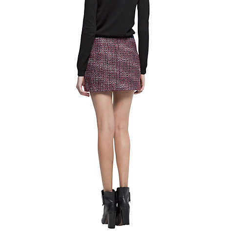 Buy Mango Boucle Zip Mini Skirt, New Burdeous Online at johnlewis.com