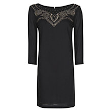 Buy Mango Embroidered  Dress, Black Online at johnlewis.com