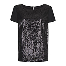 Buy Mango Sheer Sequined Top, Black Online at johnlewis.com