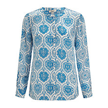 Buy Somerset by Alice Temperley Tile Print Silk Blouse, Blue Online at johnlewis.com