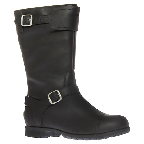 Buy UGG Gershwin Leather Buckled Boots, Black Online at johnlewis.com