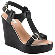 Buy Somerset by Alice Temperley Lilac Wedge Heel T-Bar Sandals, Black Online at johnlewis.com