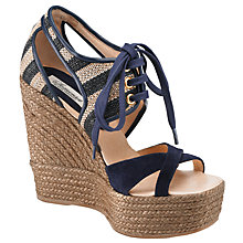 Buy Somerset by Alice Temperley Wisteria Lace-Up Wedge Sandals, Navy Online at johnlewis.com