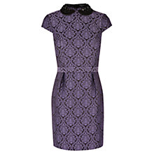 Buy Warehouse Beaded Collar Jacquard Dress, Light Purple Online at johnlewis.com