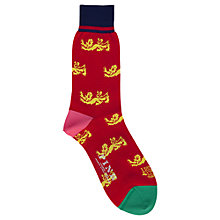 Buy Thomas Pink The Lions Multi Lion Socks, Red Online at johnlewis.com