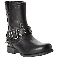 Buy Bertie Romano Stud and Buckle Detail Leather Biker Boots, Black Online at johnlewis.com