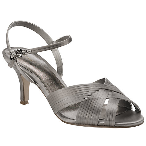 Buy John Lewis Fizz Satin Pleated Sandals, Silver Online at johnlewis.com