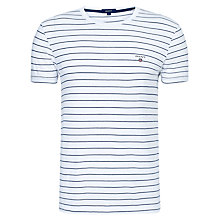 Buy Gant Breton Stripe Crew Neck T-Shirt, White/Blue Online at johnlewis.com