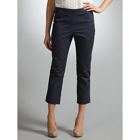 Buy COLLECTION by John Lewis Adele Spot Cropped Trousers, Navy Online at johnlewis.com
