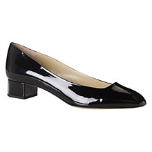 Buy Hobbs Jacey Patent Leather Block Heel Pumps, Black Online at johnlewis.com