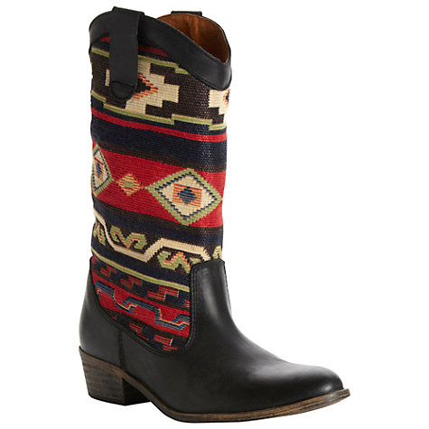 Buy Bertie Ronata Woven Fabric Panel Leather Cowboy Boots Online at johnlewis.com