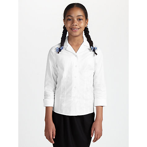 Buy John Lewis Girls' Stretch School Blouse, White Online at johnlewis.com