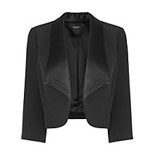 Buy Jaeger Satin Back Crepe Jacket, Black Online at johnlewis.com