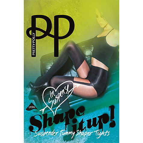 Buy Pretty Polly Shape It Up Suspender Tummy Shaper Tights, Black Online at johnlewis.com