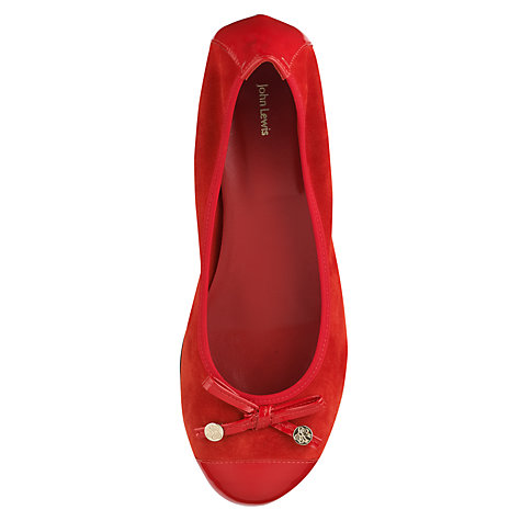 Buy John Lewis Gemito Bow Front Patent and Suede Block Heel Pumps, Red Online at johnlewis.com