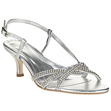 Buy John Lewis Occasion Goring Kitten Heel Sandals, Silver Online at johnlewis.com