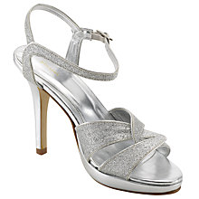 Buy John Lewis Occasion Mayfair Glitter Stiletto Sandals, Silver Online at johnlewis.com