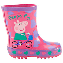 Buy Peppa Pig Heart Wellington Boots, Purple Online at johnlewis.com