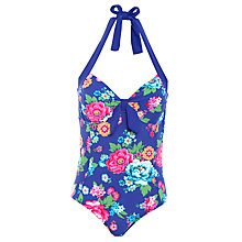 Buy Joules Sayler Halterneck Swimsuit, Blue Online at johnlewis.com