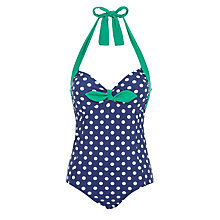 Buy Joules Sayler Halterneck Swimsuit, Navy Online at johnlewis.com