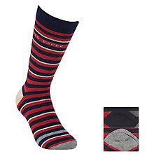 Buy Ted Baker Stripe Socks, Pack of 2, Red/Navy Online at johnlewis.com