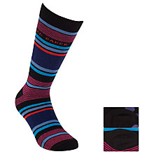 Buy Ted Baker Spostri Stripe Socks, Pack of 2, Black/Purple/Blue Online at johnlewis.com