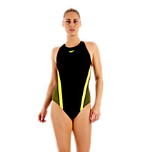 Buy Speedo Rapid Motion Swimsuit, Black/Yellow Online at johnlewis.com