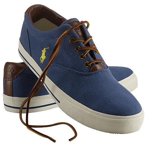 Buy Polo Ralph Lauren Vaughn Canvas and Leather Trainers, Aviator Navy Online at johnlewis.com