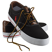 Buy Polo Ralph Lauren Vaughn Canvas and Leather Trainers, Black Online at johnlewis.com