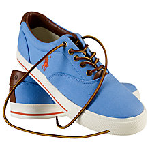 Buy Polo Ralph Lauren Vaughn Faded Canvas and Leather Trainers, Blue Online at johnlewis.com