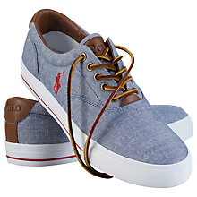 Buy Polo Ralph Lauren Vaughn Chambray and Leather Trainers, Blue Online at johnlewis.com
