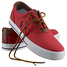 Buy Polo Ralph Lauren Vaughn Canvas and Leather Trainers, Red Online at johnlewis.com