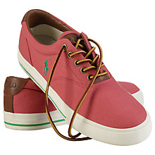 Buy Polo Ralph Lauren Vaughn Faded Canvas and Leather Trainers, Sunset Online at johnlewis.com