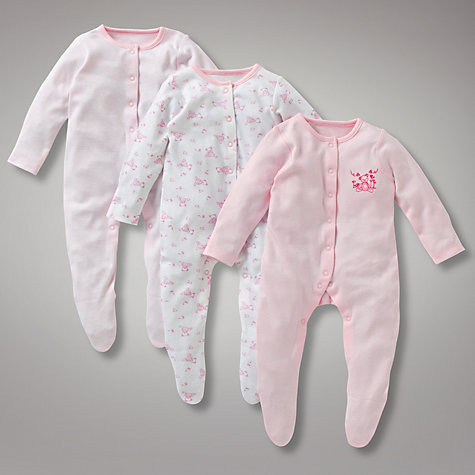 Buy John Lewis Baby Teddy Sleepsuits, Pack of 3, Pink Online at johnlewis.com