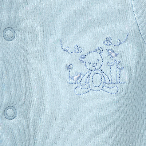 Buy John Lewis Baby Teddy Sleepsuits, Pack of 3, Blue Online at johnlewis.com