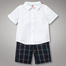 Buy John Lewis Linen Mix Shirt and Shorts Set, Navy Online at johnlewis.com