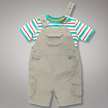 Buy John Lewis Striped T-Shirt and Dungarees Set, Multi/Stone Online at johnlewis.com