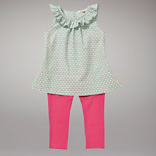 Buy John Lewis Frilled Top and Bright Leggings Set, Green/Pink Online at johnlewis.com