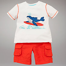 Buy John Lewis Whale T-Shirt and Poplin Shorts Set, White/Red Online at johnlewis.com