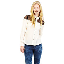 Buy Oasis Lace Blouse, Black/White Online at johnlewis.com