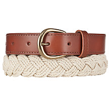 Buy John Lewis Cotton Leather Plait Belt Online at johnlewis.com