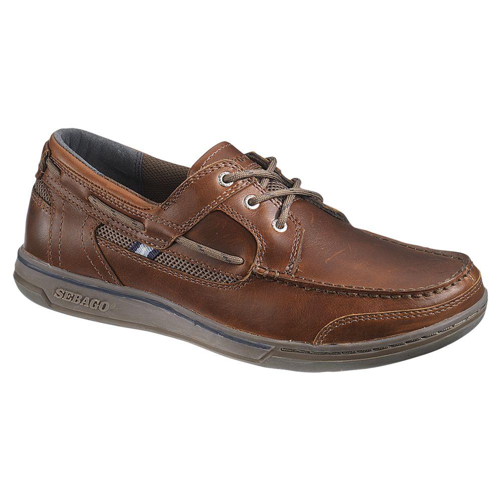 Sebago Sebago Triton 3-Eyelet Leather Boat Shoes, Dark Brown