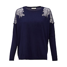 Buy Whistles Virginia Lace Insert Jumper, Navy Online at johnlewis.com