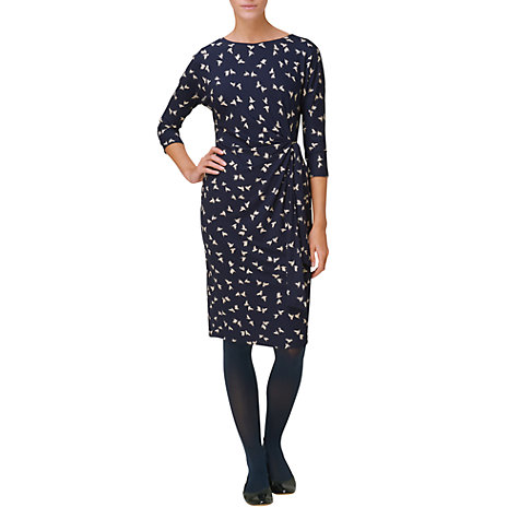 Buy Phase Eight Bird Print Dress, Navy/Stone Online at johnlewis.com