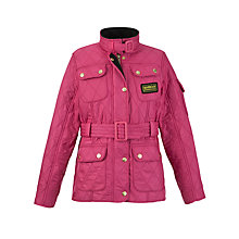 Buy Barbour Girls' International Quilted Jacket, Pink Online at johnlewis.com